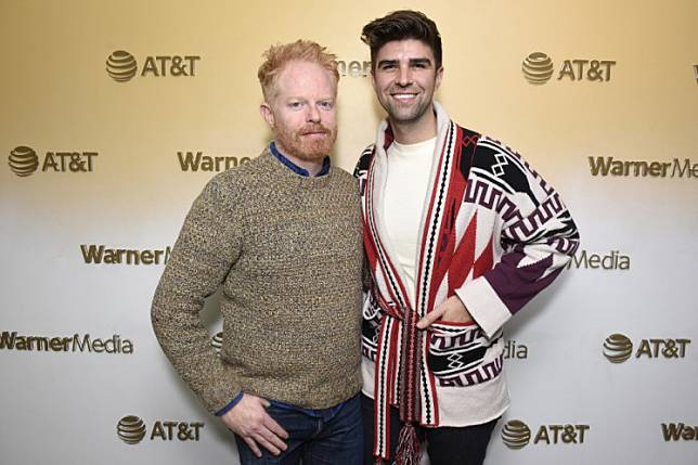Jesse Tyler Ferguson and Justin Mikita stop by HBO Films' 'Welcome to Chechnya' Premiere Party at WarnerMedia Lodge: Elevating Storytelling with AT&T during Sundance Film Festival 2020 on January 25, 2020 in Park City, Utah.