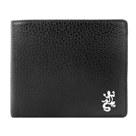 agnes b.金屬蜥蜴荔枝皮男短夾/含錢袋(黑)