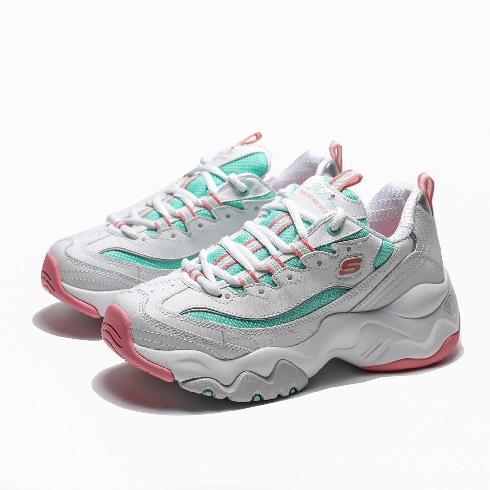 SKECHERS D'LITES 3.0 白 綠 粉 老爹鞋 休閒鞋 女 (布魯克林) 12954WPMT