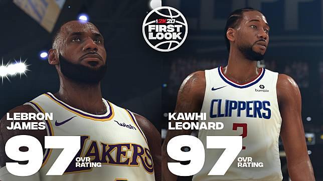 Kawhi Leonard、LeBron James在NBA2K最新數值。(圖/取自NBA2K推特)
