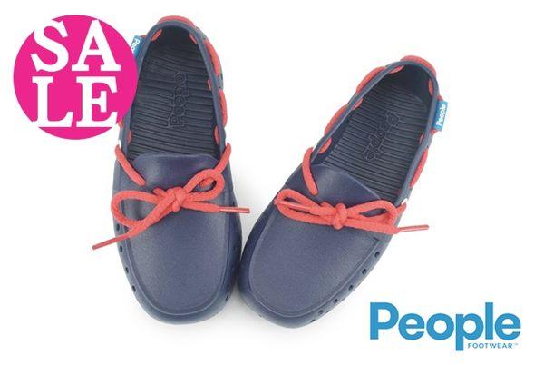 People 男童防水休閒鞋 The Senna 繫繩結 輕量洞洞鞋 水陸鞋J9475#藍色◆OSOME奧森鞋業