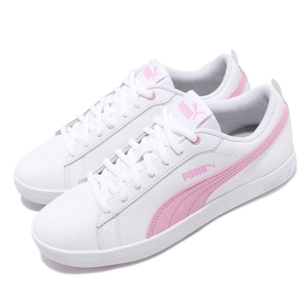 PUMA 休閒鞋 Smash 低筒 穿搭 女鞋 經典款 球鞋 簡約 皮革 質感 白 粉 [36520810]