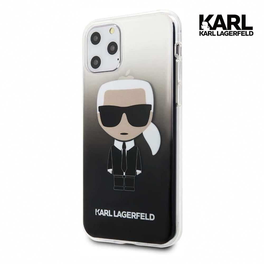 ikonik漸層 iphone 11 pro手機殼-黑卡爾·拉格斐(karl lagerfeld)適用於iphone 11 pro的pc / tpu手機殼,帶有透明漸變ikonik徽標硬包黑色防摔保護