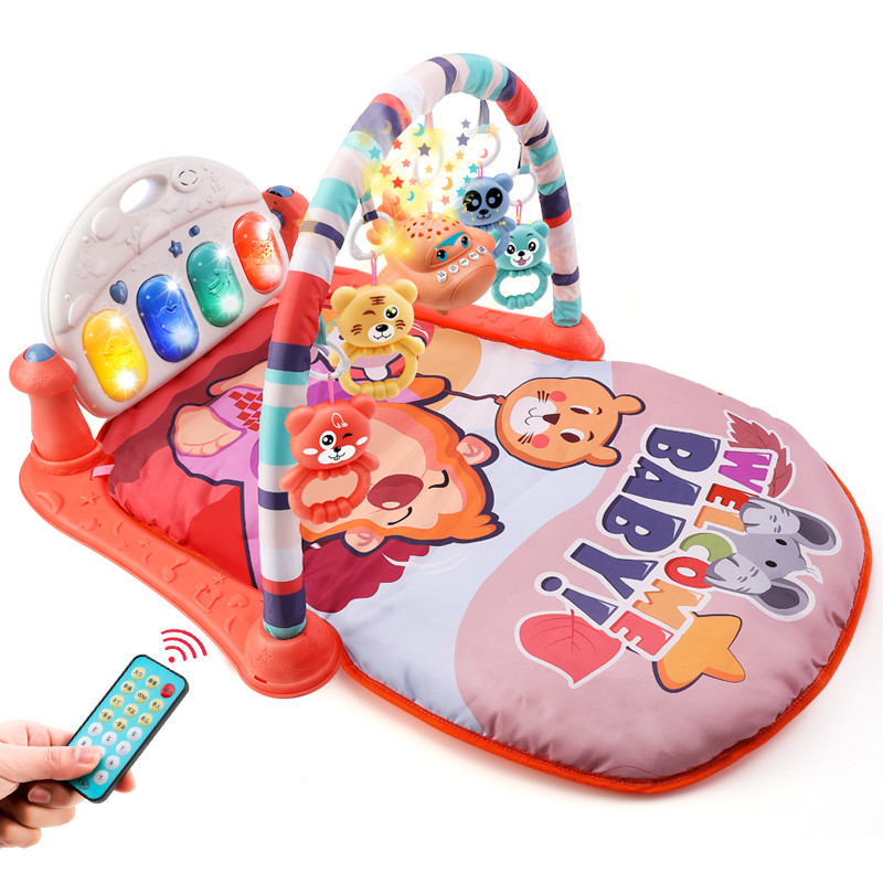 嬰兒早教健身架踢踢琴 音樂健身架 寶寶聲光玩具 寶寶玩具 兒童玩具 健力架腳踏鋼琴遊戲毯