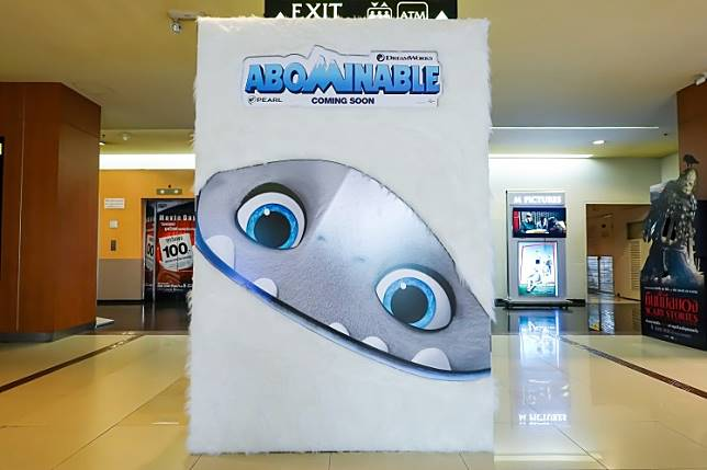 A standee of a movie titled 'Abominable' displayed at the cinema.