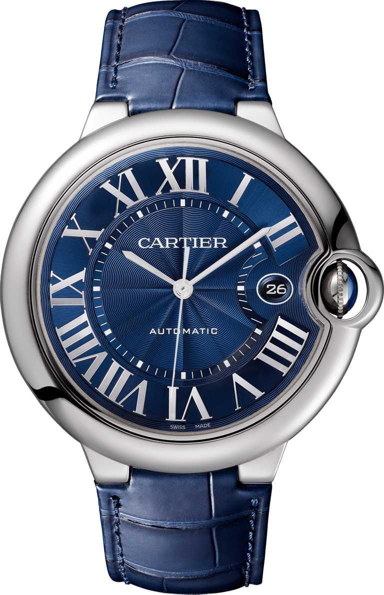 Cartier「Ballon Bleu de Cartier系列」藍面腕錶╱42mm,精鋼錶殼╱192,000元。(圖╱Cartier提供)