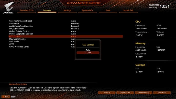 玩家可以在「Tweaker>Advanced CPU Settings」頁面中所提供的選項,來設定處理器相關功能的運作狀態,包括選擇CCD與核心的開啟數量。