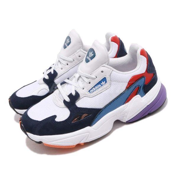 adidas 老爹鞋 Falcon W 白 深藍 麂皮鞋面 復古 老爺鞋 爸爸鞋 運動鞋 女鞋【PUMP306】 CG6246