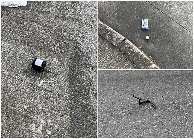現場附近路面有懷疑直升機的零件。(讀者提供)