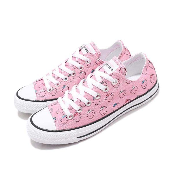 Converse Chuck Taylor All Star x Hello Kitty 粉紅 白 滿版圖騰 限量款 女鞋 運動鞋【PUMP306】 164631C