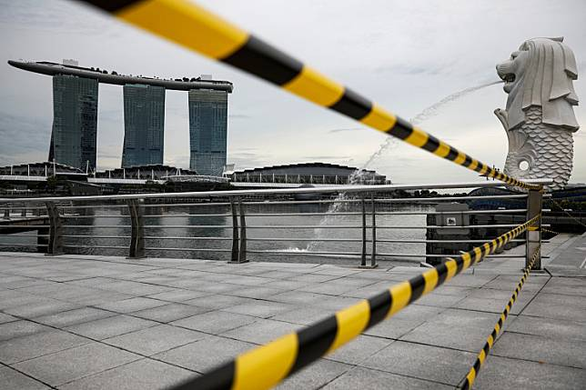 A view of a cordoned off area at the Merlion Park is seen amid the coronavirus disease (COVID-19) outbreak in Singapore, May 27, 2020.