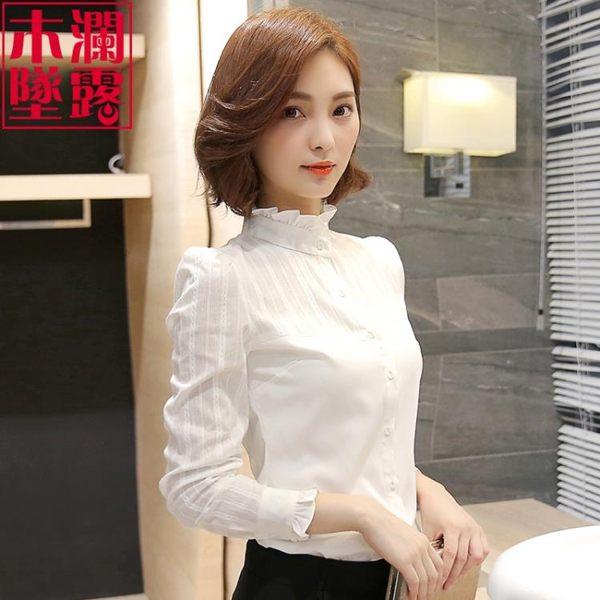 長袖襯衫女立領職業裝2019春季春裝新款加絨上衣韓版白襯衣打底衫