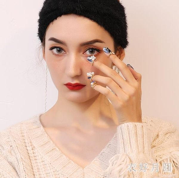 日韓版仿珍珠開口可調節指甲蓋戒指可愛貓咪四件套指環裝飾戒