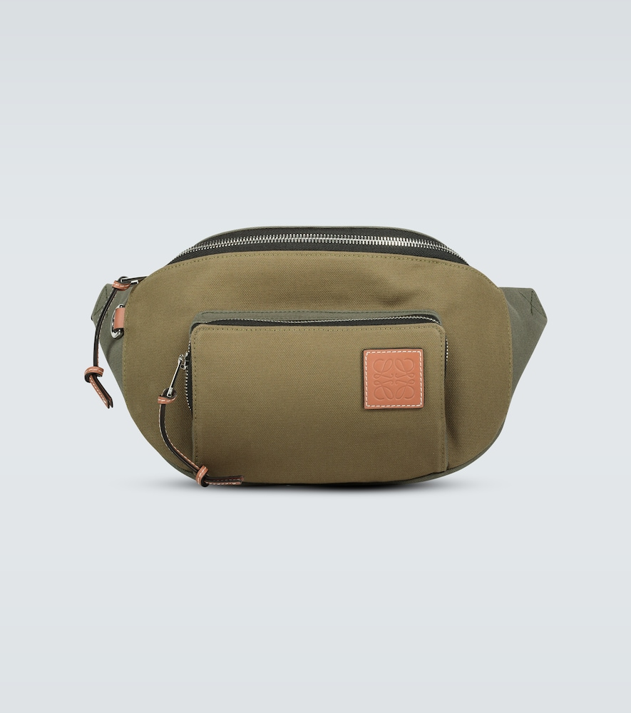 Made from a khaki green cotton canvas, this belt bag from the LOEWE Paula's Ibiza collection is deta