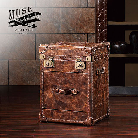 【MUSE】Ernest歐尼斯特復古工業風牛皮收藏箱