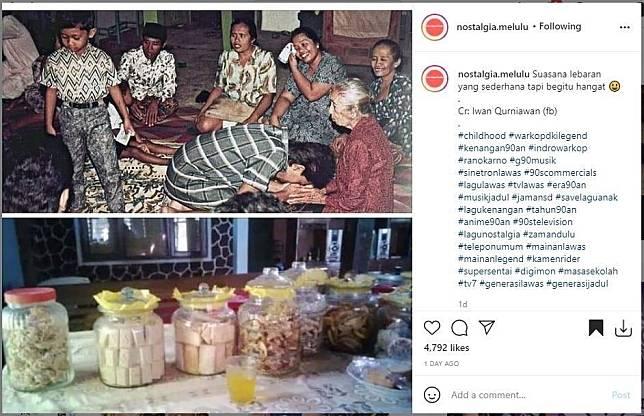 Momen lebaran lawas ini bikin netizen nostalgia. (Instagram/ @nostalgia.melulu)