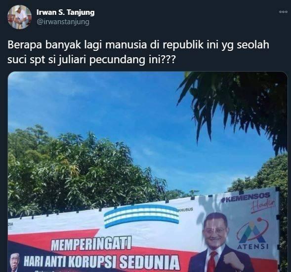 Juliari Batubara korupsi. (Twitter/@irwanstanjung)
