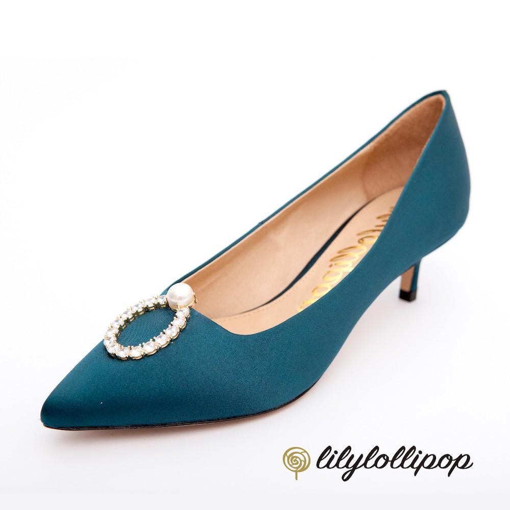 Pearl Ring 珍珠環緞面跟鞋--暗藍綠