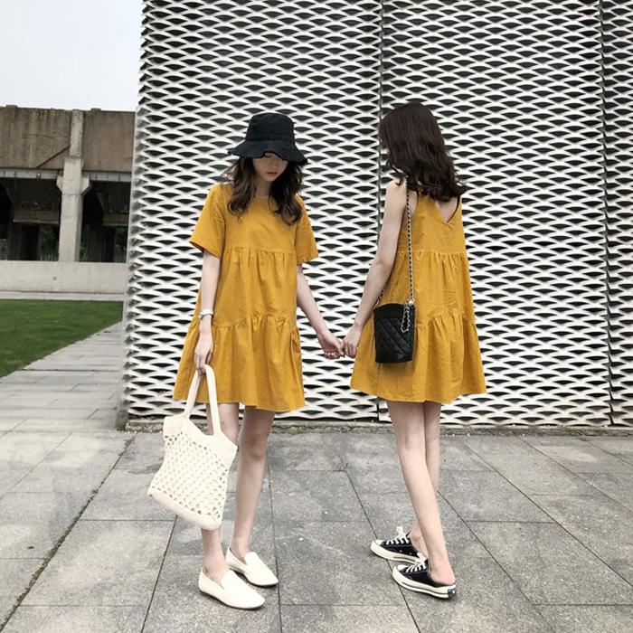 閨蜜裝慵懶風連衣裙女夏2019新款法式復古少女小清新韓版流行裙子