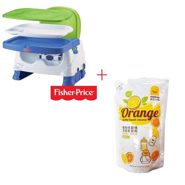 【奇買親子購物網】費雪牌 Fisher-Price寶寶小餐椅+黃色小鴨 奶瓶洗潔劑補充包800ML*1入