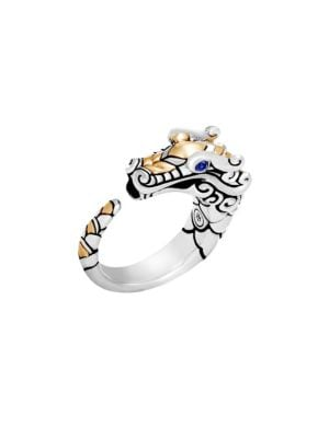 From the Legends Collection. Brushed 18K sterling silver and 18K yellow gold ring shaped in a dragon