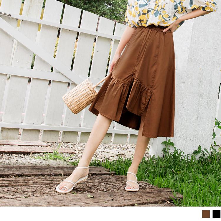 舒適柔軟的高含棉面料,給予一整天的好感穿著。 腰鬆緊設計讓穿脫方便又休閒~ 搭配拼接不規則抽皺裙襬造型 ,帶出自然的活潑味道 。 中長裙簡單搭配上衣 ,展現率性又俏麗時尚感 ~! **********