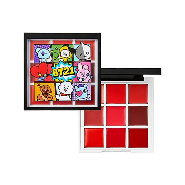 Art In Lip Palette唇妝組合集合9種色調,包括啡紅、橙紅、粉紅、莓紅、棗紅、豆沙紅等,不過講到最吸睛一定是盒蓋上的8位BT21組合成員。(互聯網)