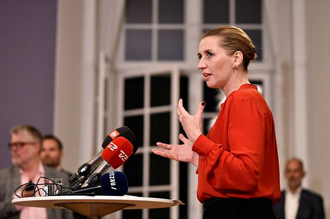 Mette Frederiksen of The Danish Social Democrats addresses the press after finalizing the government negotiations at Christiansborg Castle in Copenhagen, Denmark, shortly after midnight on June 26, 2019.