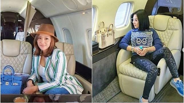 Gaya Maia Estianty vs Syahrini di Jet Pribadi. Kolase (instagram.com/maiaestiantyreal + princessyahrini)