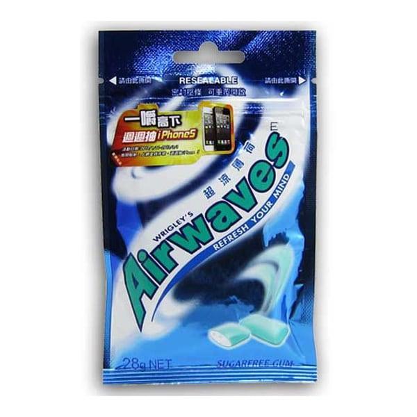 商品貨號:703430 商品品牌:Airwaves 商品品名:AIRWAVES超涼薄荷無糖口香糖袋裝28g 商品種類:口香糖 內容物名稱:甜味劑(異麥芽酮糖醇、 山梨醇、 麥芽糖醇糖漿、 甘露醇、 阿