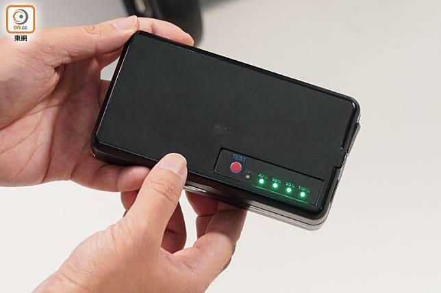 以19,800mAh電池驅動,並有專用按鍵檢查電量。(張群生攝)