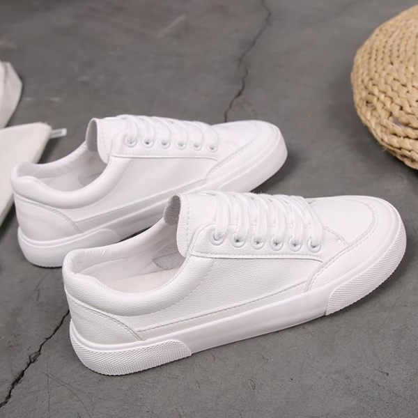 小白鞋 小白鞋女鞋學生平底百搭帆布鞋韓版白鞋白色基礎板鞋春季 【童趣屋】