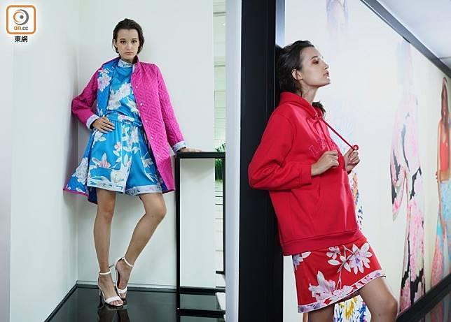 左:粉藍色印花束頸上衣、短褲、粉紅色配藍色印花雙面間棉外套/右:紅色Hoodie、紅色印花迷你裙 (方偉堅攝)