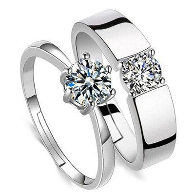 S925純銀情侶戒指一對刻字指環飾品求婚仿真鉆戒男女活口對戒開口