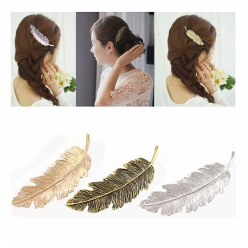 韓版復古羽毛髮夾 誇張樹葉彈簧發卡 邊夾 馬尾夾飾品F146