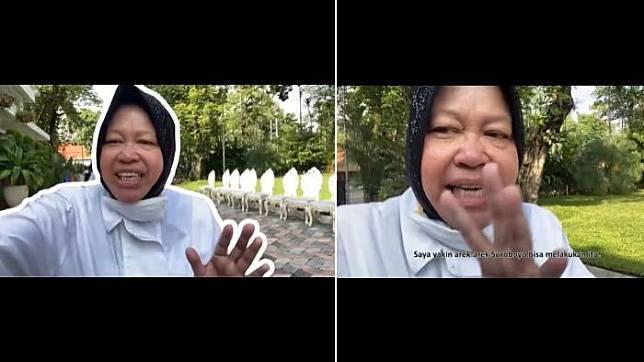 Vlog Wali Kota Surabaya Tri Rismaharini tentang pencegahan penyebaran virus Corona.  (instagram.com/surabaya)