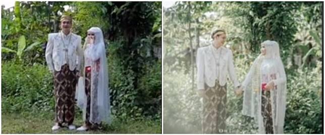 Pernikahan pengantin ini berlatar kebun rumah, hasil fotonya disorot