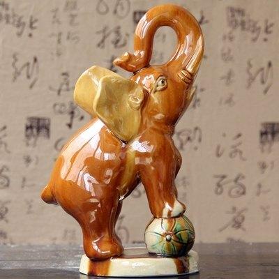 【唐三彩大象-小玩象-約長11*高18cm-1款/組】陶瓷大象擺件家居辦公旺財鎮宅-3001001