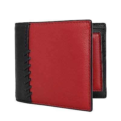 COACH紅黑編織拼色全皮二合一男夾/短夾