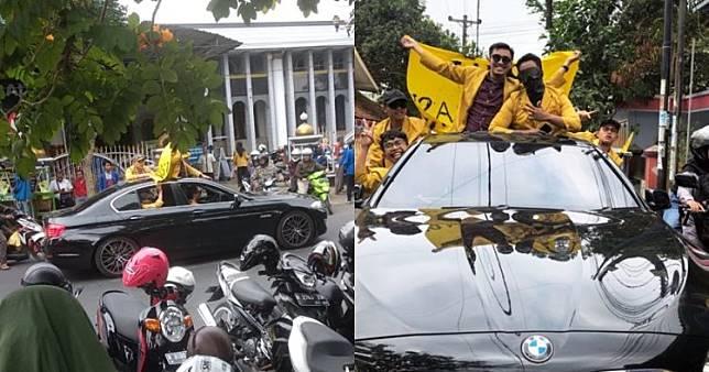 Viral mahasiswa Purwokerto demo naik BMW, sambil buka sunroof