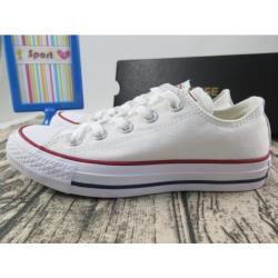 Converse 低筒 基本款 帆布休閒鞋 全白 紅邊線 正品【iSport愛運動】M7652C 全尺碼