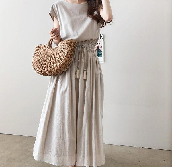 【GZ3E1】文藝風懶惰感鬆緊縮腰綁帶大擺裙 夏季寬鬆棉麻連身裙連身長裙洋裝