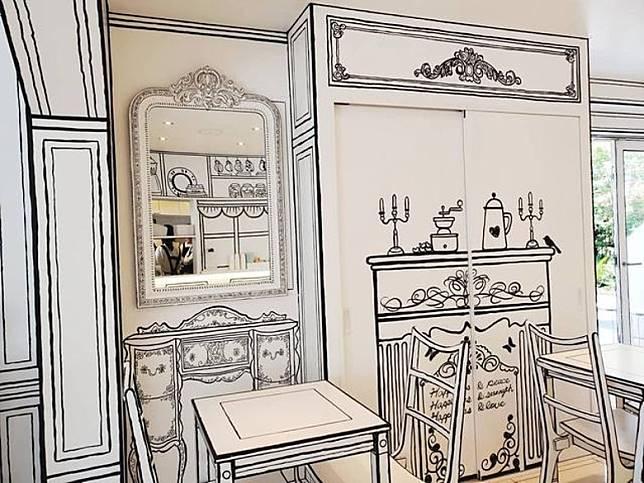 如細心看,店內部分「家具」都是畫出來。(互聯網)