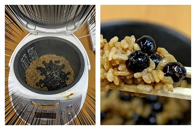 ▲日本人直接把珍珠奶茶倒進電鍋中的白飯,混搭出「珍珠奶茶泡飯」的創意料理,台灣網友都震驚了。(圖/翻攝自《SoraNews24》)