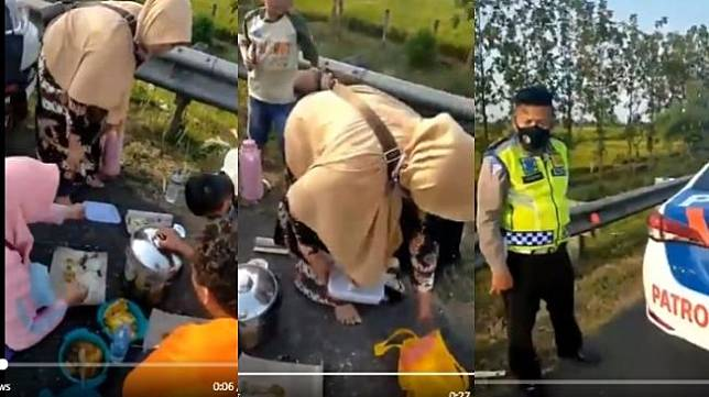 Viral Keluarga Makan di Pinggir Jalan Tol Cipali (Twitter)