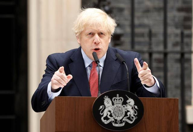 Britain's Prime Minister Boris Johnson speaks outside 10 Downing Street after recovering from the COVID-19, London, Britain, April 27, 2020.Johnson said Tuesday he would offer millions of Hong Kongers visas and a possible route to UK citizenship if China persists with its national security law.