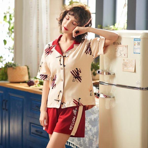 【預購款】居家服夏季新款純棉短袖睡衣套裝女開衫短褲可外穿甜美家居服6003【時尚潮流部落】