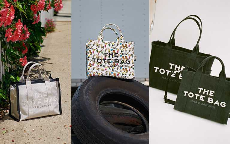 The Marc Jacobs 全黑帆布The Tote Bag(大) NTD 9,990 (小) NTD 8,990(圖/Marc Jacobs提供)