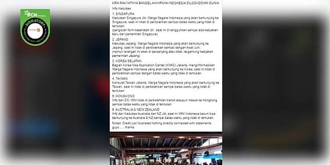 Cek Fakta: Benarkah Indonesia Di-lockdown Dunia karena Rakyatnya Bandel? (Facebook)