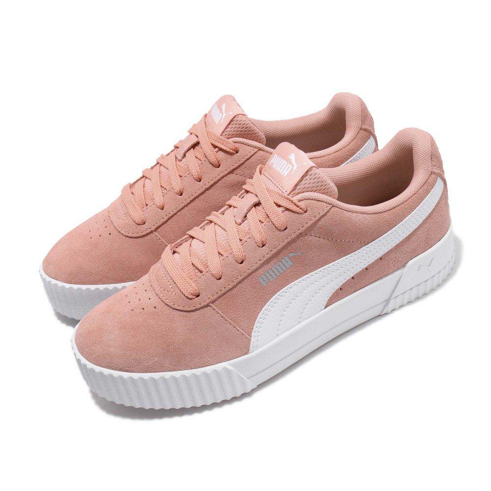 PUMA 休閒鞋 Carina 低筒 穿搭 女鞋 基本款 簡約 舒適 麂皮 質感 球鞋 粉 白 [36986404]